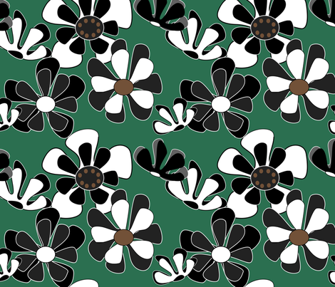 dark green flower ocean fabric by kaija on Spoonflower - custom fabric