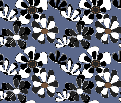 blue flower ocean 2 fabric by kaija on Spoonflower - custom fabric