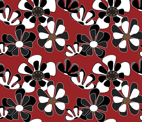 red flower ocean fabric by kaija on Spoonflower - custom fabric