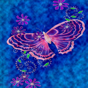 pink butterfly on blue