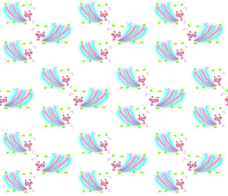 Catbirds Three fabric by anniedeb on Spoonflower - custom fabric