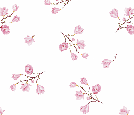 almond Blossoms_white fabric by edrouga on Spoonflower - custom fabric