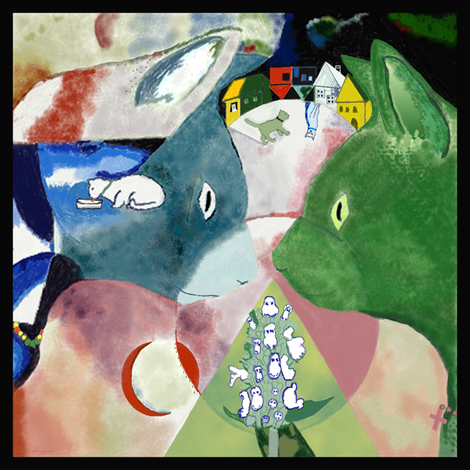 """Chagall's Cats 8""""x8"""" fabric by higmeister on Spoonflower - custom fabric"""