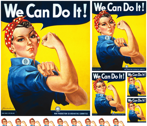 Rosie the Riveter - multi sized fabric by kissedquilts on Spoonflower - custom fabric