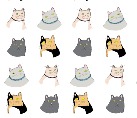 fourcats1 fabric by tobyoliverdean on Spoonflower - custom fabric