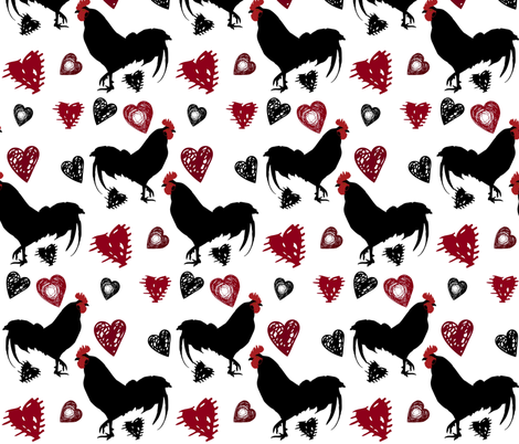 ROOSTER LOVE fabric by bluevelvet on Spoonflower - custom fabric