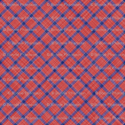 Grid Plaid Linen - Blue Red