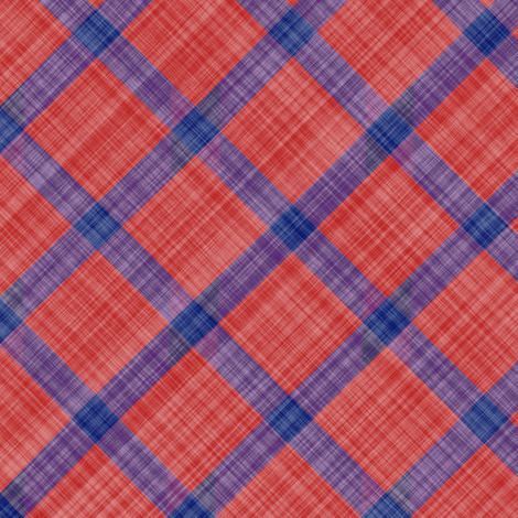 Grid Plaid Linen - Blue Red fabric by bonnie_phantasm on Spoonflower - custom fabric