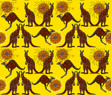 Kangaroos with a Lemon Sky fabric by topfrog56 on Spoonflower - custom fabric