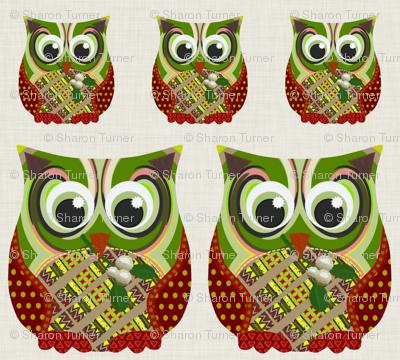 Christmas Appliqué Patch Owl Fronts