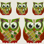 Christmas Appliqué Patch Owl Fronts