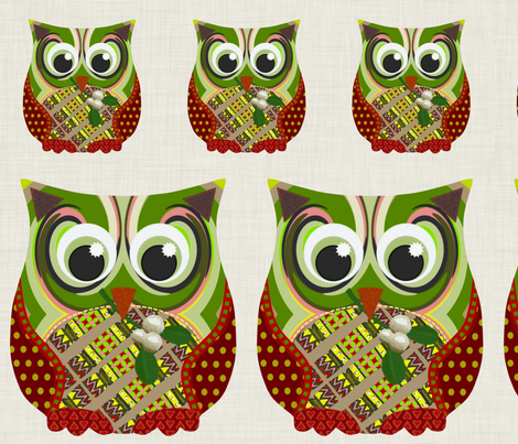 Christmas Appliqué Patch Owl Fronts fabric by scrummy on Spoonflower - custom fabric