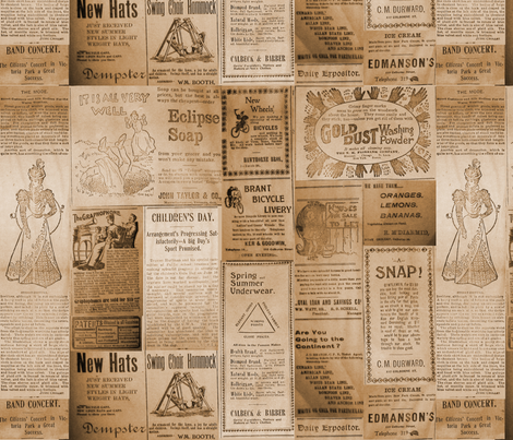 The Expositor 1898 Brown fabric by callioperosehandcarjones on Spoonflower - custom fabric