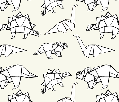 Origami Dinosaurs fabric by abbyg on Spoonflower - custom fabric