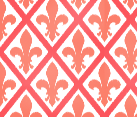 peach fleur lattice fabric by amybethunephotography on Spoonflower - custom fabric