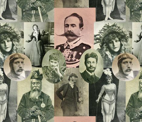 Magazine Portraits Collage: with vignettes fabric by callioperosehandcarjones on Spoonflower - custom fabric