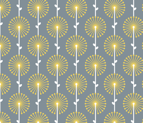 Yellow Lehua, Grey - Special fabric by ravenous on Spoonflower - custom fabric