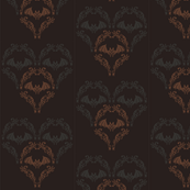 Bat Damask {on brown}