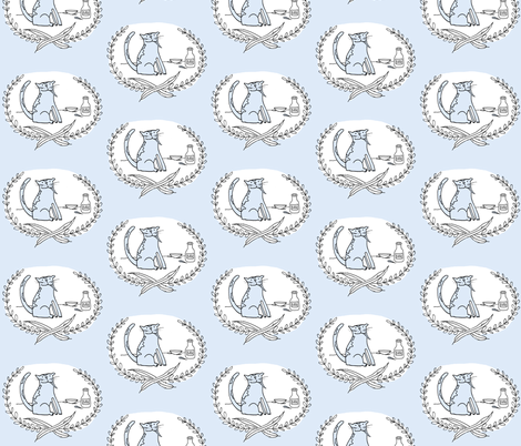 'Bad Kitty' Calico (with milk-blue) fabric by pattyryboltdesigns on Spoonflower - custom fabric
