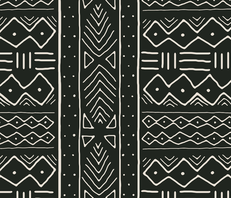Mudcloth in bone on black fabric by domesticate on Spoonflower - custom fabric