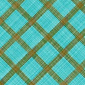 Grid Plaid Linen - Brown Turquoise