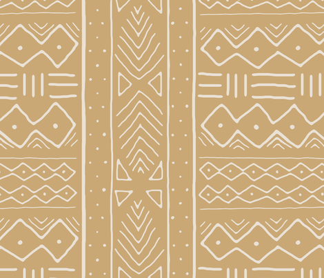 Mudcloth in bone on camel fabric by domesticate on Spoonflower - custom fabric