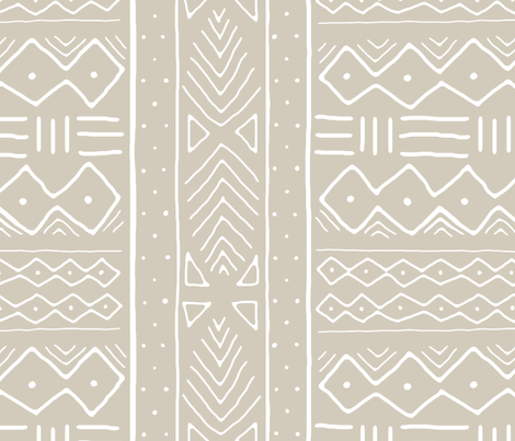 Mudcloth in white on desert fabric by domesticate on Spoonflower - custom fabric