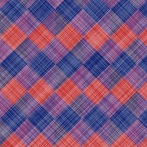  Argyle Checker Plaid Linen - Blue Red