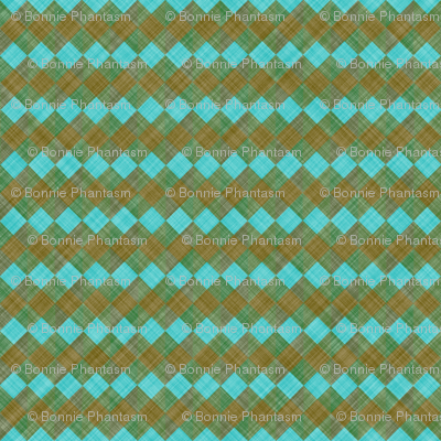 Argyle Checker Plaid Linen - Brown Turquoise