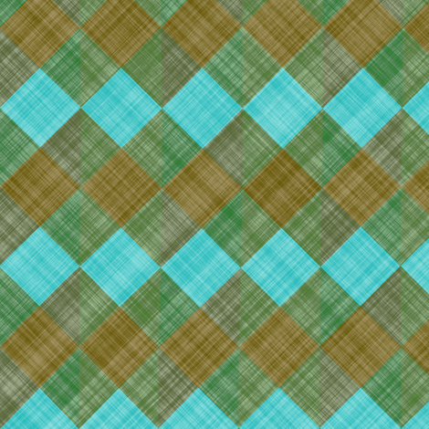 Argyle Checker Plaid Linen - Brown Turquoise fabric by bonnie_phantasm on Spoonflower - custom fabric