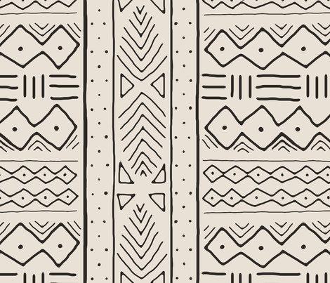 Mudcloth in black on bone fabric by domesticate on Spoonflower - custom fabric
