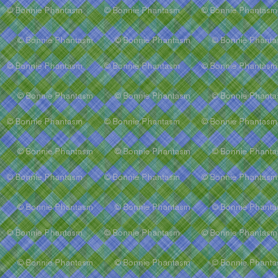 Argyle Checker Plaid Linen - Green Blue