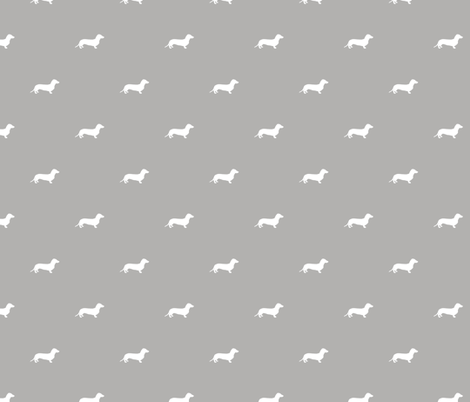Dachshund Dots Grey fabric by ben_goetting on Spoonflower - custom fabric