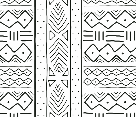 Mudcloth in black on white fabric by domesticate on Spoonflower - custom fabric