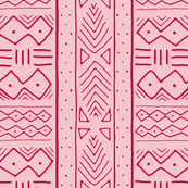 Mudcloth in crimson on pink