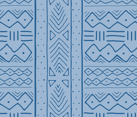 Mudcloth in denim fabric by domesticate on Spoonflower - custom fabric