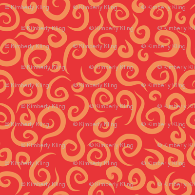 Whimsical Red Swirls