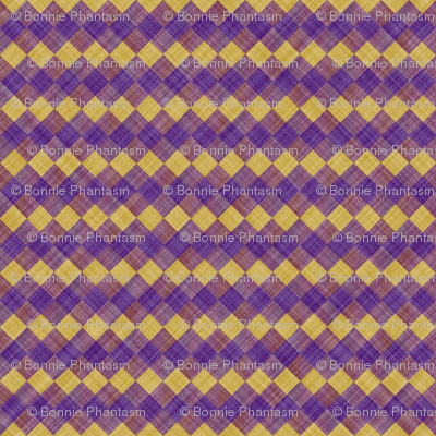 Argyle Checker Plaid Linen - Purple Yellow
