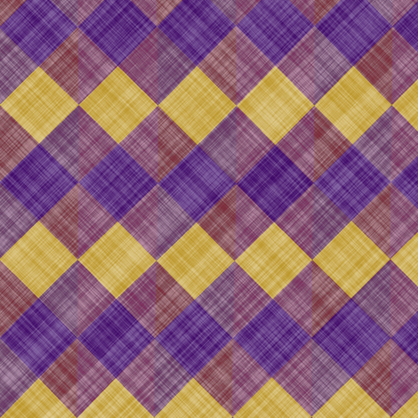 Argyle Checker Plaid Linen - Purple Yellow fabric by bonnie_phantasm on Spoonflower - custom fabric