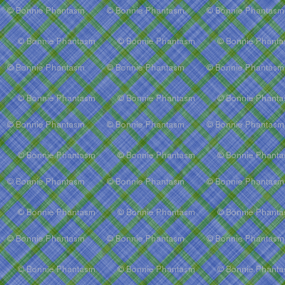Grid Plaid Linen - Green Blue