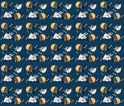 Ghost dog fabric by makersway on Spoonflower - custom fabric