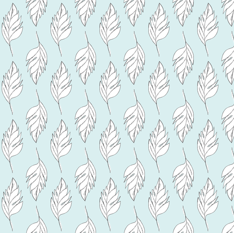 Feathered Plume - Light Blue/White fabric by alainasdesigns on Spoonflower - custom fabric