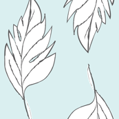 Feathered Plume - Light Blue/White