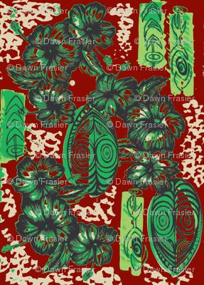 Honiara Hibiscus, Emerald and Ruby