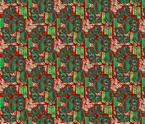 Honiara Hibiscus, Emerald and Ruby fabric by sophista-tiki on Spoonflower - custom fabric