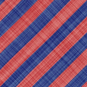 Diagonal Linen Stripe - Blue Red