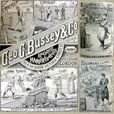 1890's Sports Ads: Newsprint Large