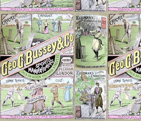 1890's Sports Ads: Large: Coloured fabric by callioperosehandcarjones on Spoonflower - custom fabric