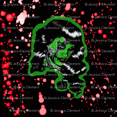 Blood Splatter Zombie Bettie Page