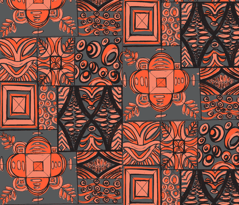 Old School ,Mana Mohala, salmon on grey fabric by sophista-tiki_by_dawn_frasier on Spoonflower - custom fabric